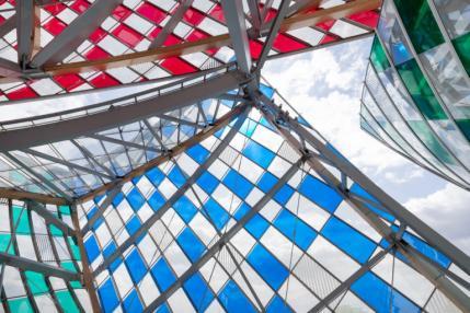 "Daniel Buren, ""Observatory of Light"" (2016), work in situ at the Fondation Louis Vuitton, Paris (© DB-ADAGP Paris / Iwan Baan /"