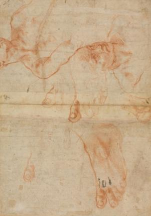 "Michelangelo, ""Studies for Sistine Ceiling"" (circa 1508-12), collection of The Cleveland Museum of Art"