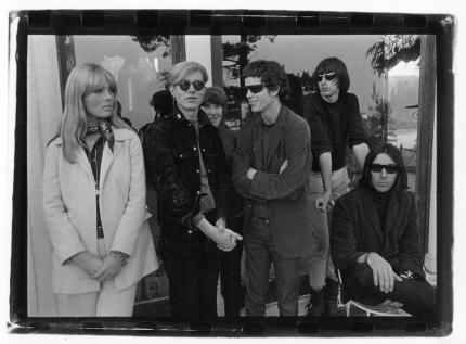 Velvet Underground & Nico with Andy Warhol in the Hollywood Hills 1966© Gerard Malanga Courtesy Galerie Caroline Smulders Paris
