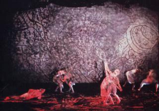 murmuring tOngue Of Ovid: XS: The Opera, a collaboration with Jane Smith, Rhys Chatham, Yves Musard, Karen Hansgen et al at Shakespeare Theatre, Boston 1985 (photo by Paula Court)