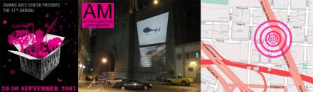 Artists Meeting large scale projections on Manhattan Bridge