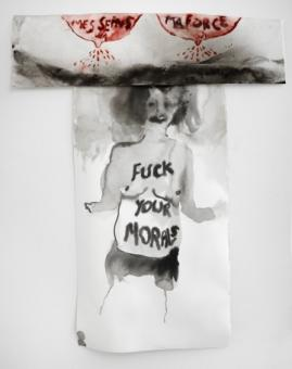 """Annette Messager, """"Fuck your Morals"""" (2016), composition of two drawings, acrylic on paper, 21 7/8 x 27 15/16 in"""
