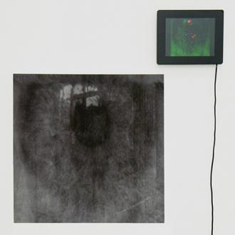 Joseph Nechvatal, blackeye, 2010. Computer-robotic assisted acrylic on canvas and screen with digital animation screen, 20 x 20