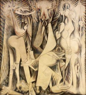 "Wifredo Lam, ""Le Présent éternel"" (1944), mixed media on canvas, RSID Museum of Art, Providence"