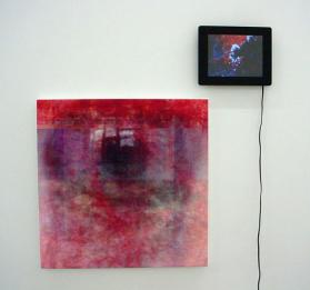 "Joseph Nechvatal, scOpOphilia, 2009, computer-robotic assisted acrylic on canvas & screen with viral attack animation, 20"" x 20"""