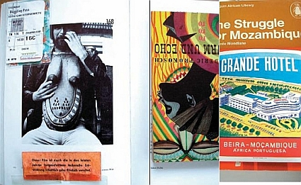 Hubert Fichte, picture taken by Leonore Mau, and Storm and Echo by Frederic Prokosch 1952, The Struggle of Mozambique 1969, and Grande Hotel luggage sticker until 1974